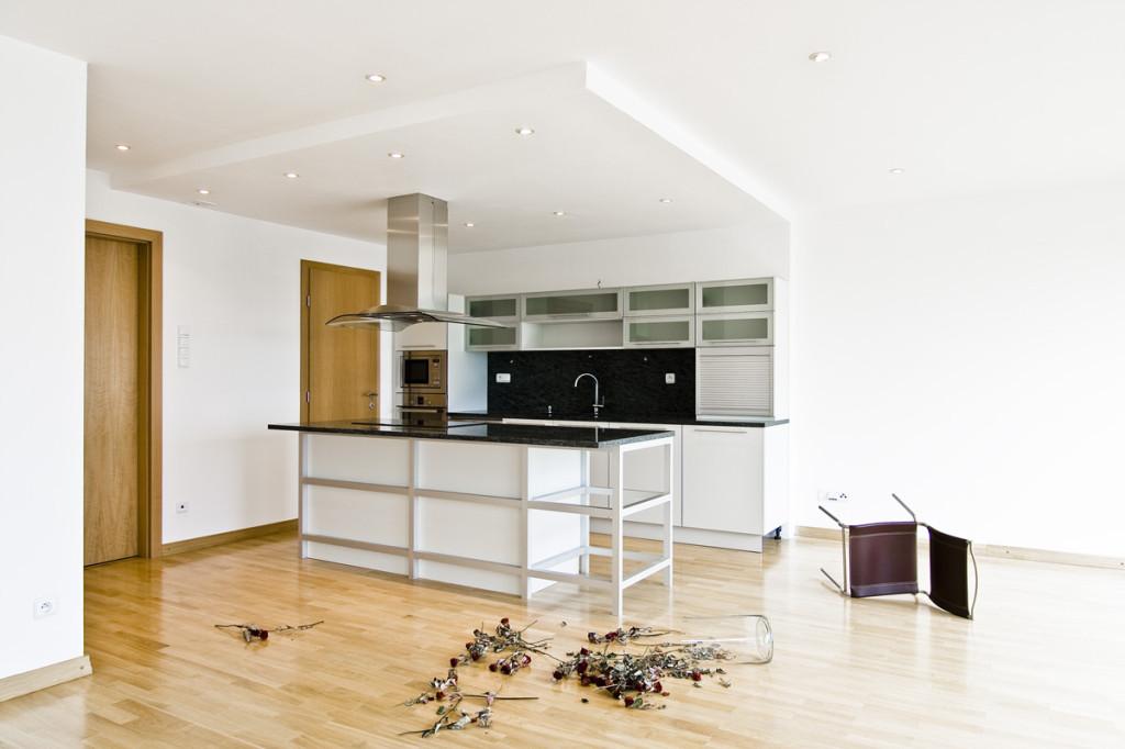 bílá funkcionalistická kuchyně s hliníkovými rámy