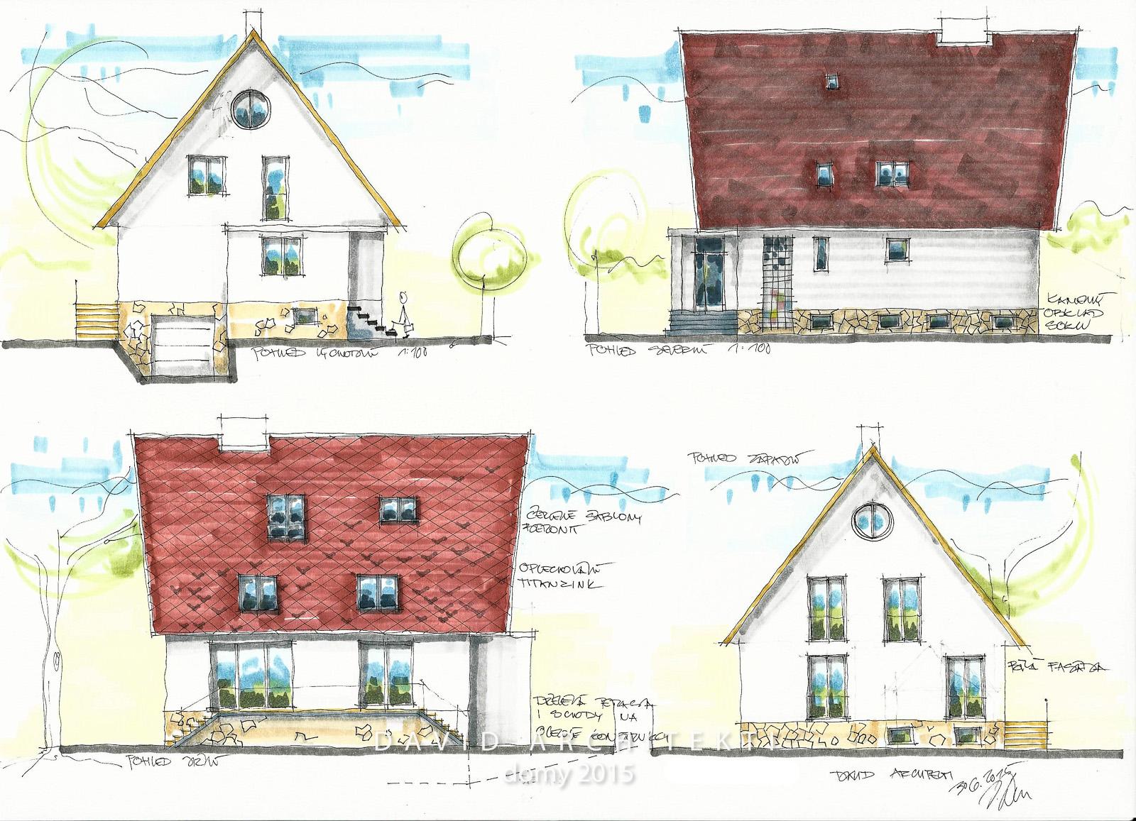 Podstatou návrhu rekonstrukce rodinného domu ze sedmdesátých let je jednoduchost, úpravy velikostí oken a celistvost.