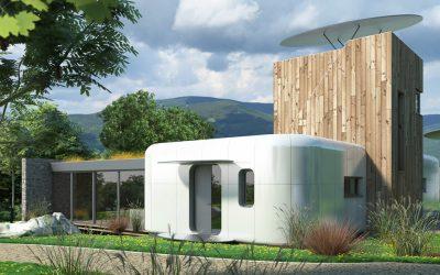 futuristický dům jako z měsíce